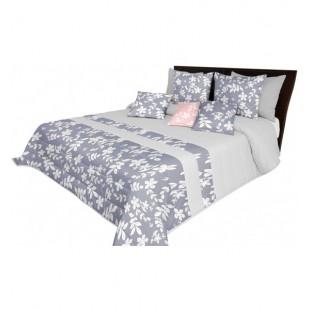 Prehoz na posteľ sivej farby s motívom listov a kvetov
