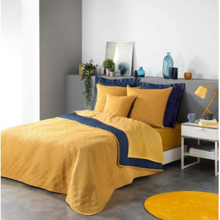 Žlto-modrý obojstranný prešívaný prehoz na posteľ