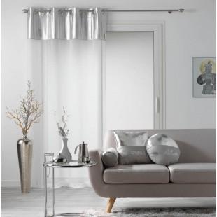 Biela priehľadná záclona so strieborným pásom