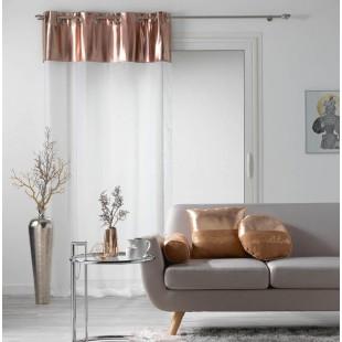 Biela priehľadná záclona s pásom vo farbe ružového zlata