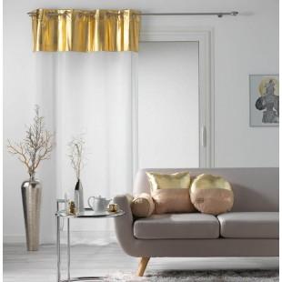 Biela priehľadná záclona so zlatým pásom