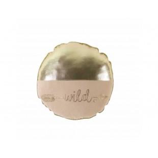 Zlatý okrúhly dekoračný vankúš s nápisom