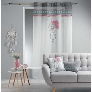 Biela záclona so vzorom lapača snov na kruhy