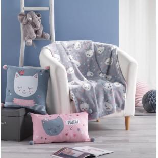 Sivá plyšová detská deka s mačičkami