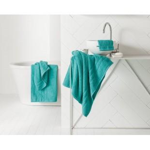 Tyrkysový jednofarebný kúpeľňový ručník