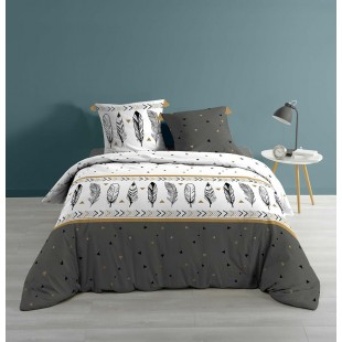 Biela elegantná posteľná obliečka s motívom pierok
