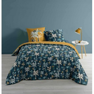 Zelená elegantná posteľná obliečka s motívom paliem