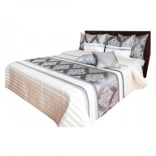 Luxusný sivo pieskový prehoz na posteľ so zlatými ornamentami