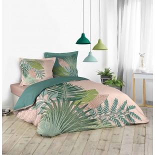 Ružová posteľná obliečka s rastlinným motívom