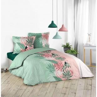 Zelená posteľná obliečka s tropickým motívom