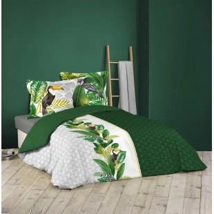 Zelená posteľná obliečka s tukanmi