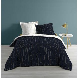 Tmavomodrá elegantná posteľná obliečka so zlatým motívom