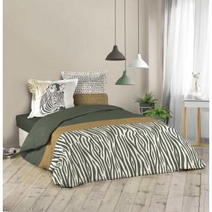 Zelená bavlnená posteľná obliečka so zebrou