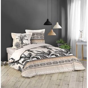 Béžová bavlnená posteľná obliečka s palmami