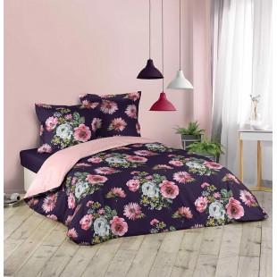 Fialová posteľná obliečka s kvetinovým motívom