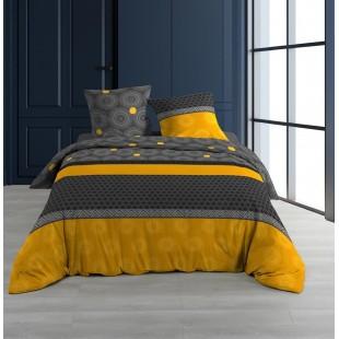 Sivo-žltá posteľná obliečka so vzormi