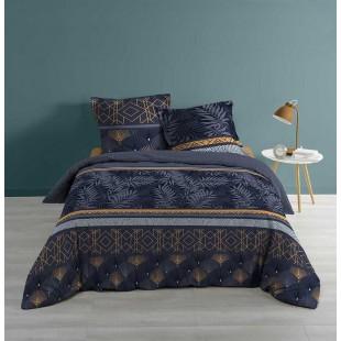 Tmavomodrá elegantná vzorovaná posteľná obliečka
