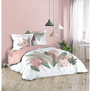 Biela posteľná obliečka s rastlinným motívom