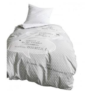 Svetlosivá posteľná obliečka s nápisom