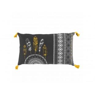 Sivý vzorovaný dekoračný vankúš so strapčekmi