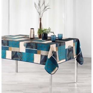 Modrý vzorovaný obrus na stôl s vetvičkami