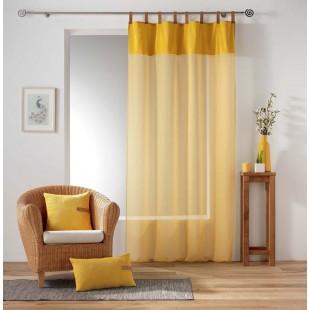 Žltá priehľadná záclona s koženými pútkami