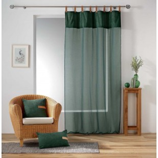 Zelená priehľadná záclona s koženými pútkami