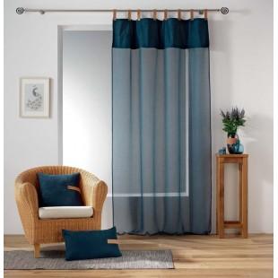 Modrá priehľadná záclona s koženými pútkami