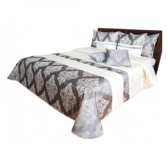 Luxusná sivo biela prikrývka na posteľ so zlatými ornamentami
