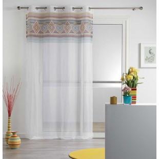 Biela priehľadná záclona s farebným vzorom