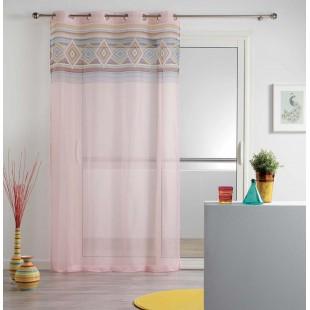 Ružová priehľadná záclona s farebným vzorom