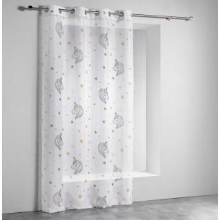 Biela priehľadná záclona s jednorožcami