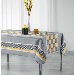 Sivý obrus na stôl so žltým vzorom