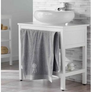 Sivý kúpeľňový ručník s motívom lapača snov