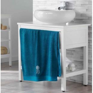 Tmavomodrý kúpeľňový ručník s motívom lapača snov