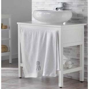 Biely kúpeľňový ručník s motívom lapača snov
