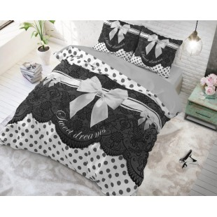 Sivá vzorovaná bavlnená posteľná obliečka