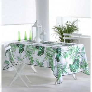 Biely obrus na stôl s rastlinným motívom