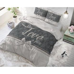Biela bavlnená posteľná obliečka s nápisom