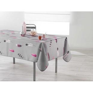 Sivý vzorovaný obrus na stôl s motívom pierok