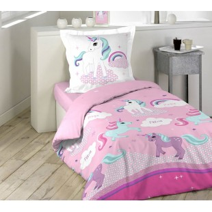 Ružová bavlnená posteľná obliečka s jednorožcami