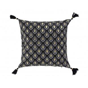 Čierna dekoračná obliečka na vankúš so zlatým vzorom a strapčekmi