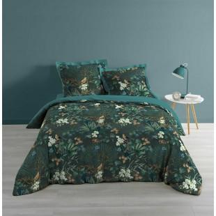 Tmavozelená posteľná obliečka s tropickým motívom