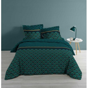 Zelená bavlnená vzorovaná posteľná obliečka