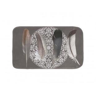 Sivý kúpeľňový koberček s motívom pierok