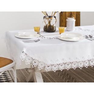 Biely kruhový obrus na stôl s ozdobným lemom