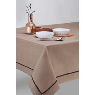 Kávový obrus na stôl s tmavohnedým pásikom
