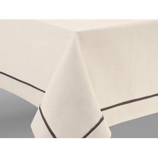 Krémový obrus na stôl s tmavosivým pásikom