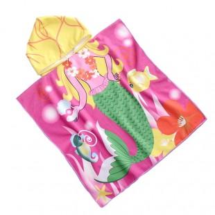 Ružové pončo s motívom morskej panny