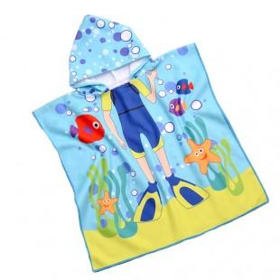 Modré pončo s motívom potápača